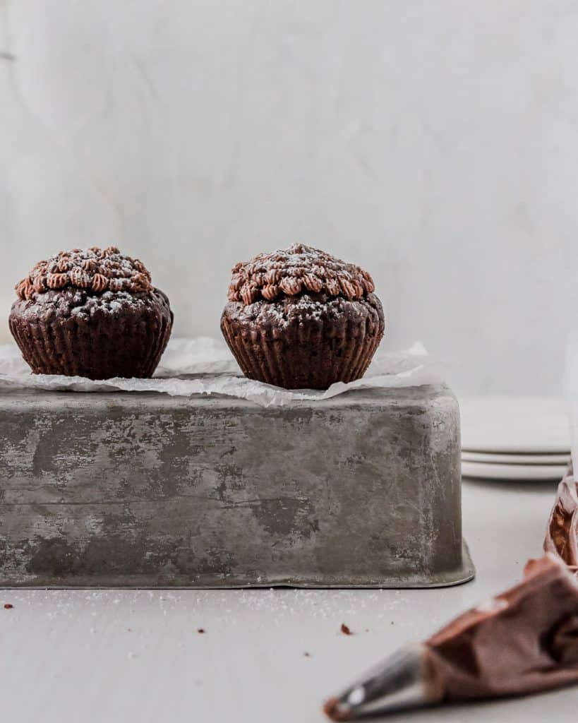 Chocolate frosted rich double chocolate vegan cupcakes.