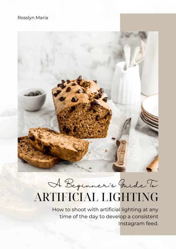 A cover page for a beginner artificial lighting ebook. Photo of sliced banana bread on the cover.