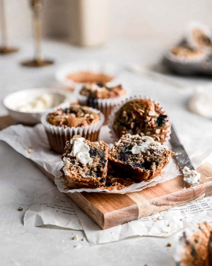 Gluten-Free Blueberry Pecan Muffins with Vegan Butter on top