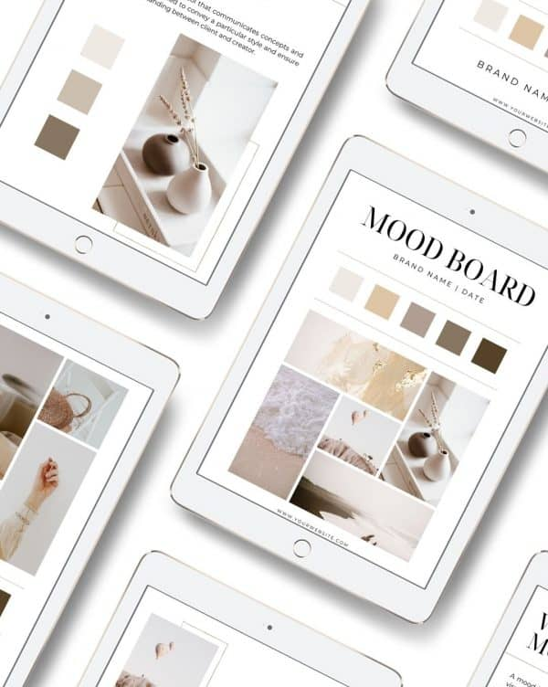 white ipads with images of a digital mood board inside of them